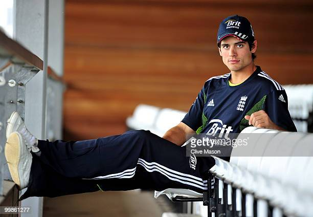 Alastair Cook of England poses for photographs after a press conference ahead of a net session at The County Ground on May 18, 2010 in Derby, England.