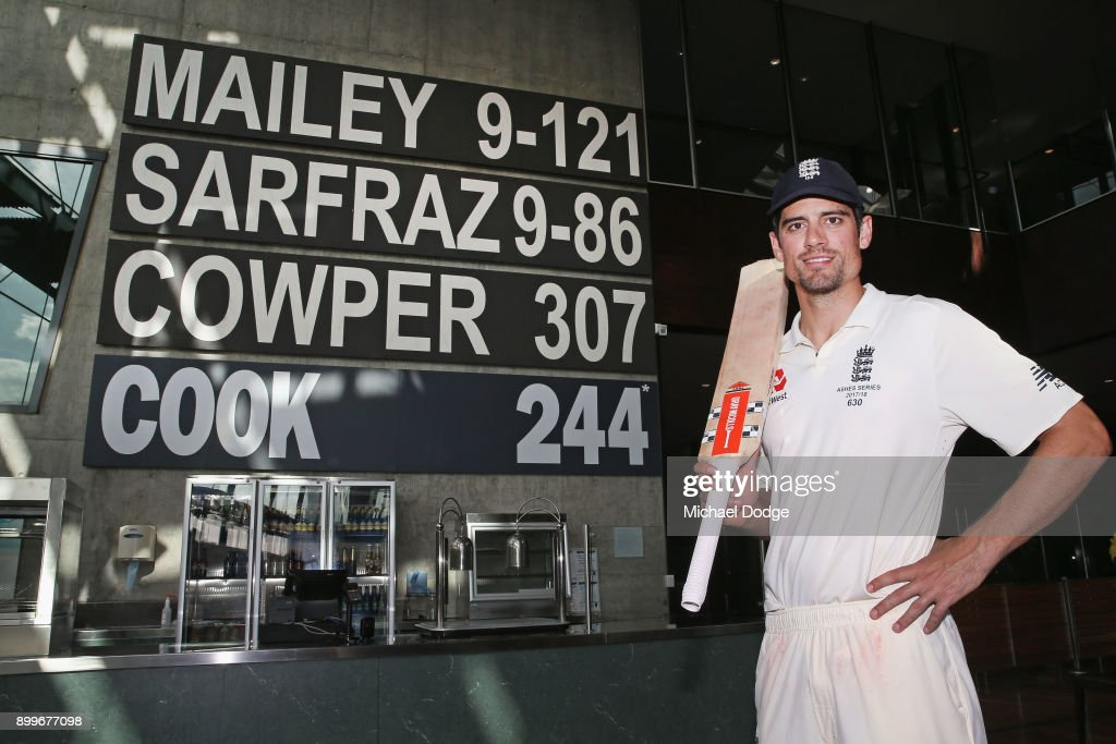 Alastair Cook of England poses next to his score of 244 not out made in the Percy Beams bar after the drawn result during day one of the Fourth Test Match in the 2017/18 Ashes series between Australia and England at Melbourne Cricket Ground on December 30, 2017 in Melbourne, Australia.