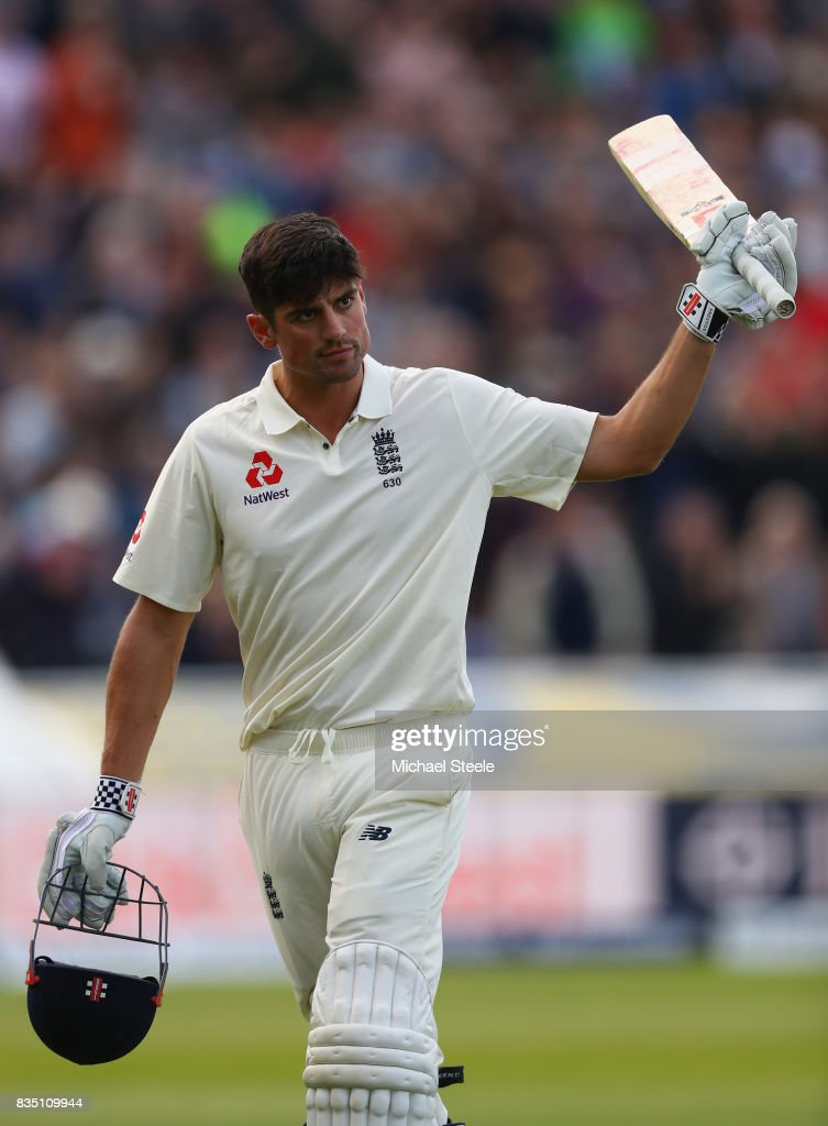 Alastair Cook of England raises his bat after being dismissed for 243 during day two of the 1st Investec Test match between England and West Indies at Edgbaston on August 18, 2017 in Birmingham, England.