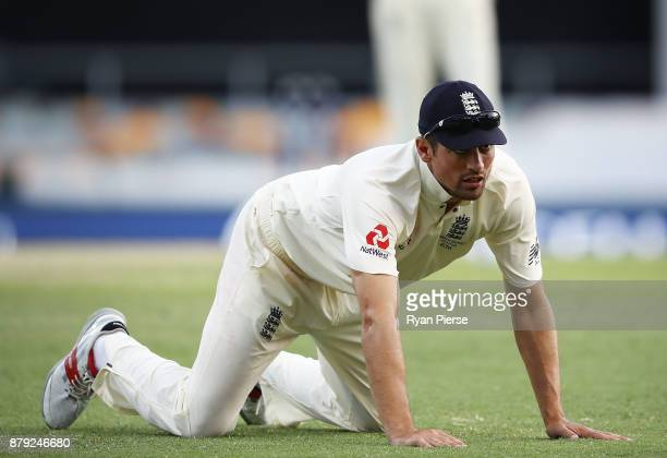 Alastair Cook of England reacts while fielding during day four of the First Test Match of the 2017/18 Ashes Series between Australia and England at...