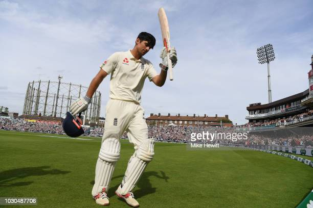 Alastair Cook of England returns to the pavilion after being dismissed for 147 in his ast Test match innings during the Specsavers 5th Test Day Four...