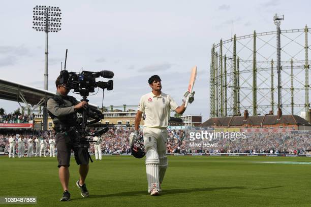 Alastair Cook of England returns to the pavilion after being dismissed for 147 in his last Test match innings during the Specsavers 5th Test Day Four...