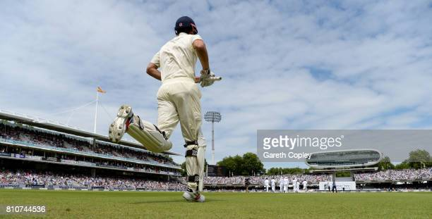 Alastair Cook of England runs out to bat during day three of the 1st Investec Test match between England and South Africa at Lord's Cricket Ground on...