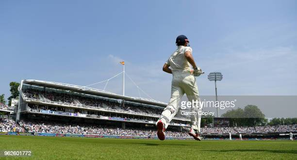 Alastair Cook of England runs out to bat during day three of the 1st NatWest Test match between England and Pakistan at Lord's Cricket Ground on May...