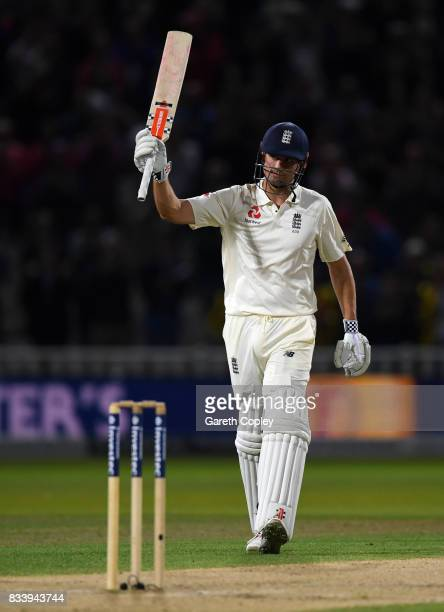 Alastair Cook of England salutes the crowd after reaching 150 runs during the 1st Investec Test match between England and West Indies at Edgbaston on...