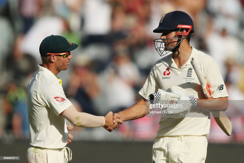 Alastair Cook of England shakes hands with David Warner of Australia after making his century during day two of the Fourth Test Match in the 2017/18 Ashes series between Australia and England at Melbourne Cricket Ground on December 27, 2017 in Melbourne, Australia.