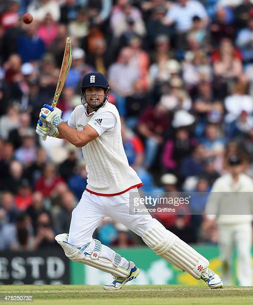 Alastair Cook of England smashes the ball to the boundary during day two of the 2nd Investec Test Match between England and New Zealand at Headingley...