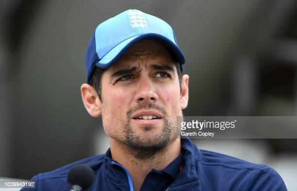 Alastair Cook of England speaks to the media at The Kia Oval on September 5 2018 in London England