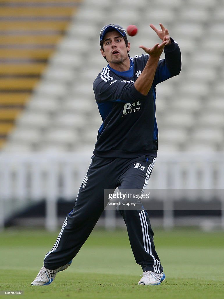 Alastair Cook of England takes part in a fielding drill during a nets session at Edgbaston on June 5, 2012 in Birmingham, England.