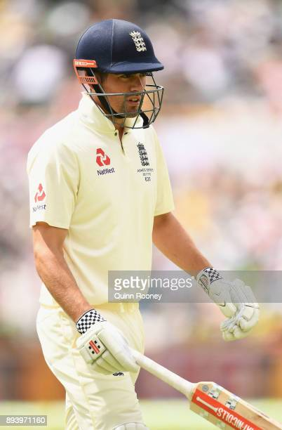 Alastair Cook of England walks from the field after being dismissed by Josh Hazlewood of Australia during day four of the Third Test match during the...
