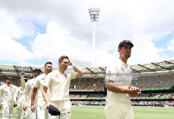 Alastair Cook of England walks from the ground at the end of play during day five of the First Test Match of the 2017/18 Ashes Series between...