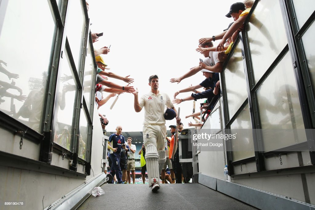 Alastair Cook of England walks off at the close of play after making 244 not out during day three of the Fourth Test Match in the 2017/18 Ashes series between Australia and England at Melbourne Cricket Ground on December 28, 2017 in Melbourne, Australia.