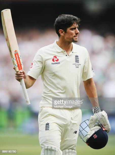 Alastair Cook of England walks off at the close of play after making 244 not out during day three of the Fourth Test Match in the 2017/18 Ashes...