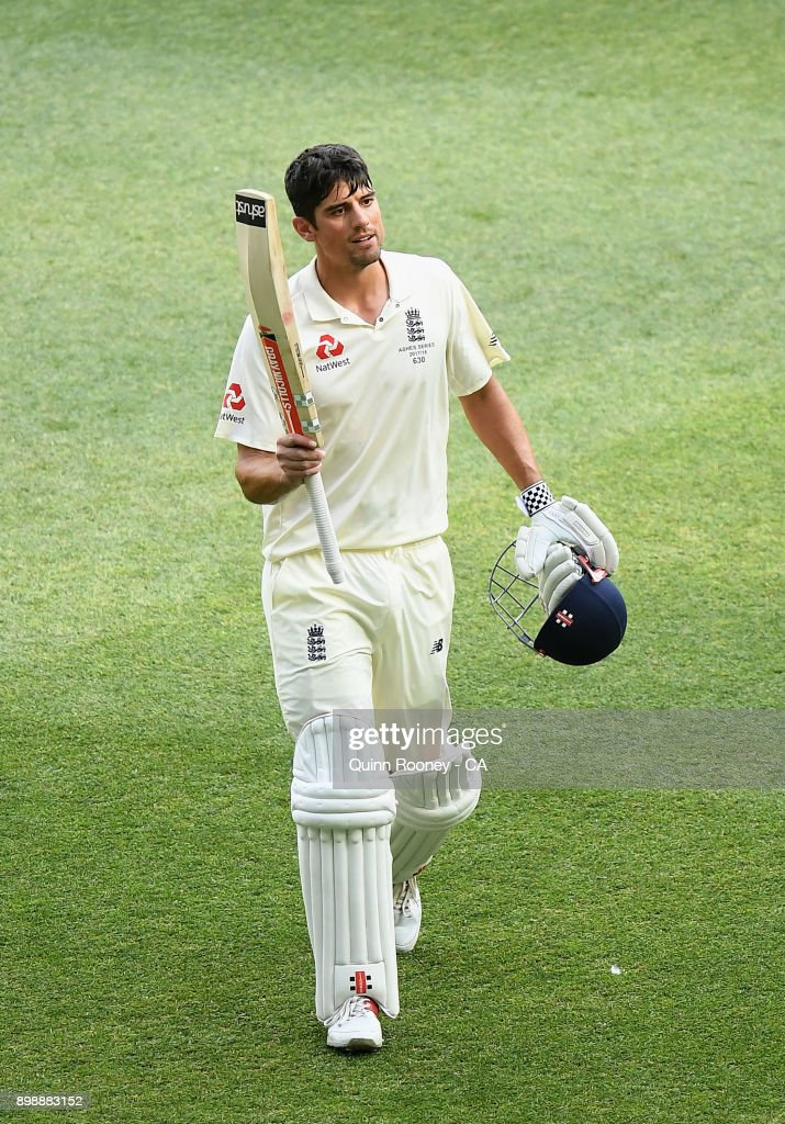 Alastair Cook of England walks off the field after making a century during day two of the Fourth Test Match in the 2017/18 Ashes series between Australia and England at Melbourne Cricket Ground on December 27, 2017 in Melbourne, Australia.