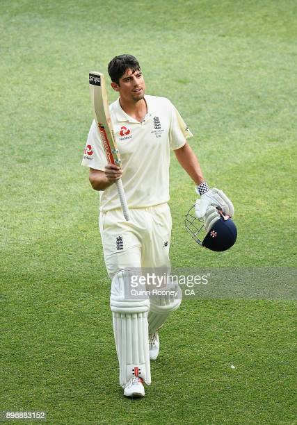 Alastair Cook of England walks off the field after making a century during day two of the Fourth Test Match in the 2017/18 Ashes series between...