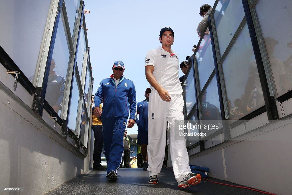 Alastair Cook of England walks offf thr ground after defeat during day four of the Fourth Ashes Test Match between Australia and England at Melbourne Cricket Ground on December 29, 2013 in Melbourne, Australia.