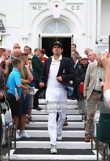 Alastair Cook of England walks out for the toss during day one of the 4th Investec Ashes Test match between England and Australia at Trent Bridge on...