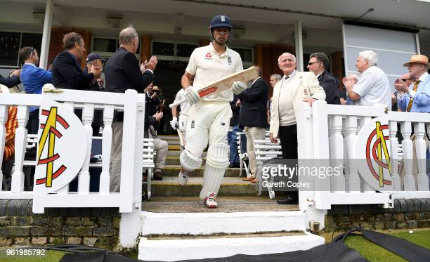 Alastair Cook of England walks out to bat ahead of the NatWest 1st Test match between England and Pakistan at Lord's Cricket Ground on May 24, 2018...