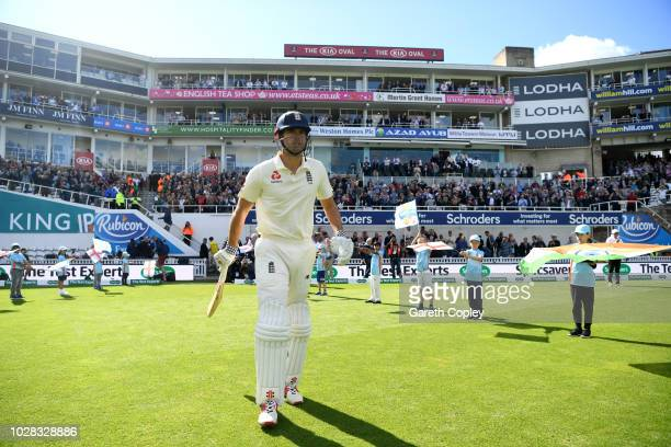 Alastair Cook of England walks out to bat during day one of the Specsavers 5th Test between England and India at The Kia Oval on September 7, 2018 in...