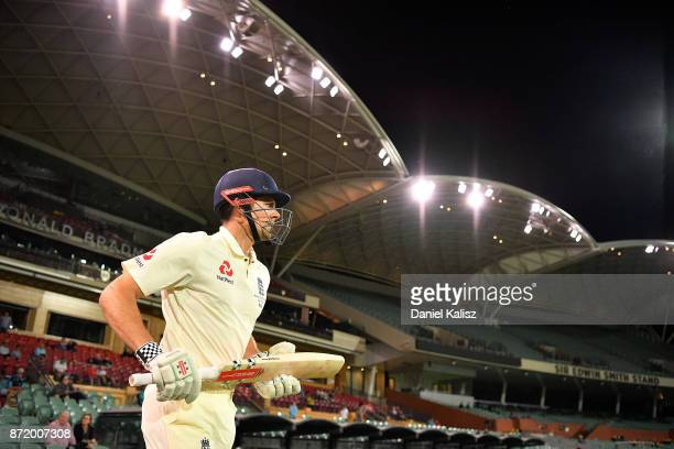 Alastair Cook of England walks out to bat during day two of the Four Day Tour match between the Cricket Australia XI and England at Adelaide Oval on...