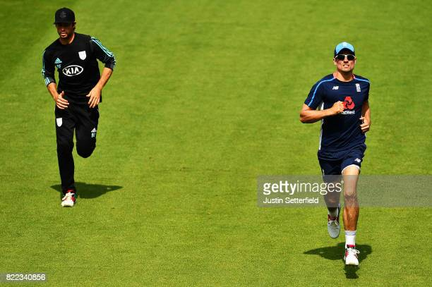 Alastair Cook of England warms up during practice ahead of the 3rd Investec Test between England and South Africa at The Kia Oval on July 25 2017 in...