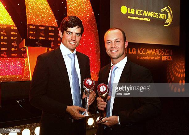 Alastair Cook of England with the ICC Test Cricketer of The Year Award and Jonathan Trott of England with the ICC Cricketer of The Year Award pose...