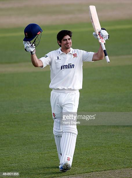 Alastair Cook of Essex celebrates reaching his century during day two of the LV County Championship Division Two match between Essex and Derbyshire...