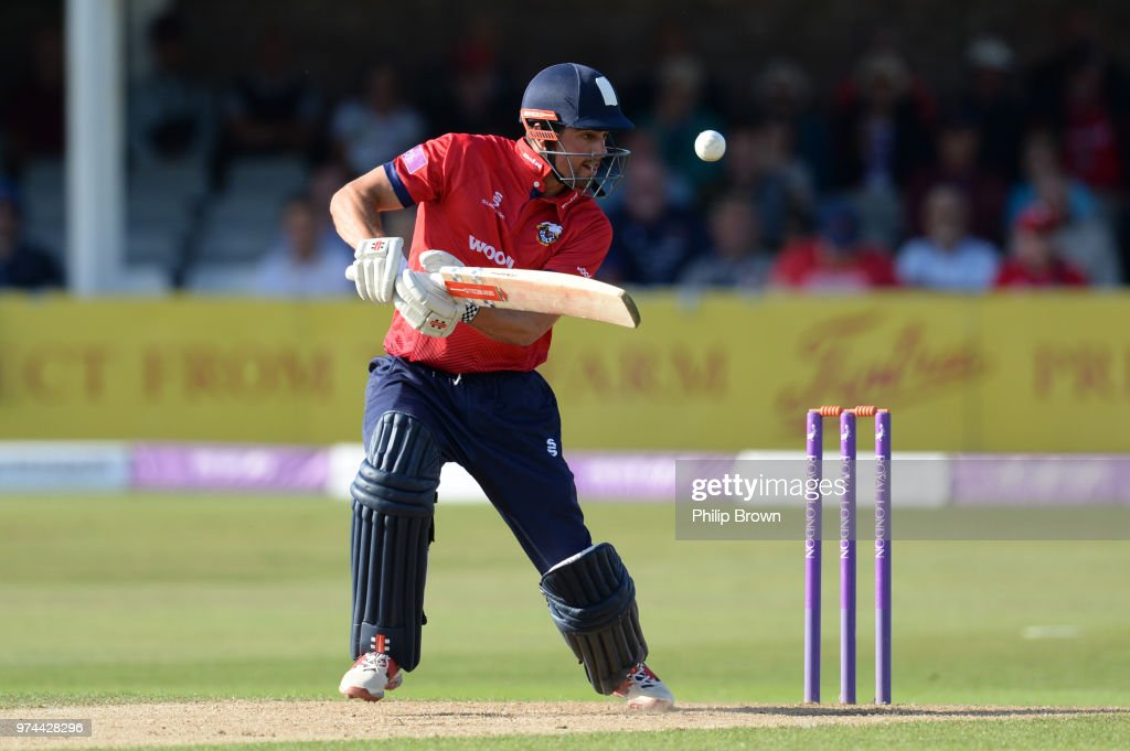 Alastair Cook of Essex Eagles bats during the Royal London One-Day Cup match between Essex Eagles and Yorkshire Vikings at the Cloudfm County Ground on June 14, 2018 in Chelmsford, England.