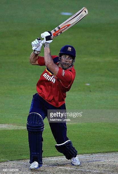 Alastair Cook of Essex Eagles hits the ball towards the boundary during a Tour match between Essex and Sri Lanka at Ford County Ground on May 13 2014...