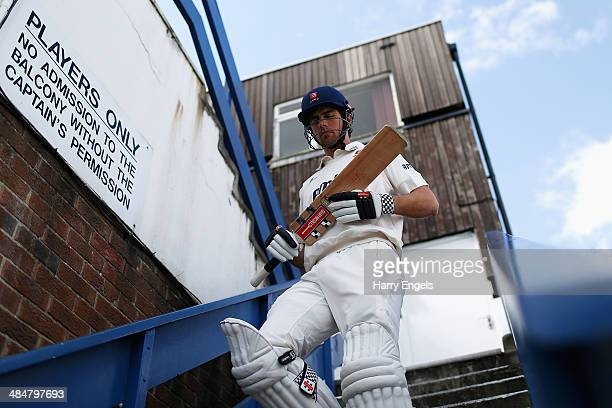 Alastair Cook of Essex heads out to bat after lunch on day two of the LV County Championship Division Two match between Essex and Derbyshire at the...