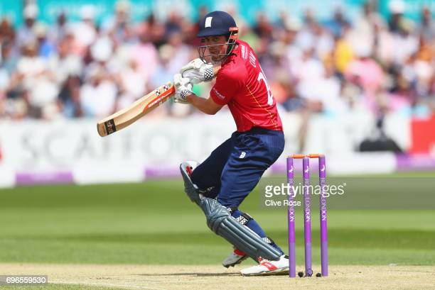 Alastair Cook of Essex hits out during the Royal London OneDay Cup Semi Final between Essex and Nottinghamshire at Cloudfm County Ground on June 16...