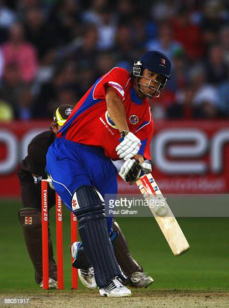 Alastair Cook of Essex hits out during the Twenty20 Cup match between Essex and Surrey at the Ford County Ground on on May 29, 2009 in Chelmsford,...