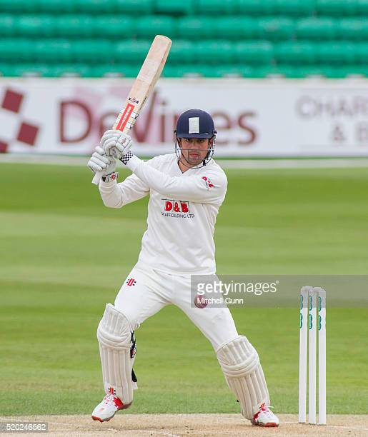 Alastair Cook of Essex hits the ball for four runs during the Specsavers County Championship match between Essex and Gloucestershire at the County...