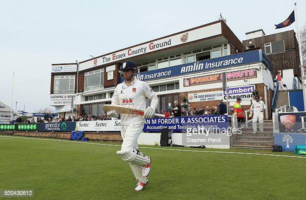 Alastair Cook of Essex leaves the pavilion to bat on day two of the Specsavers County Championship match between Essex and Gloucestershire at the...