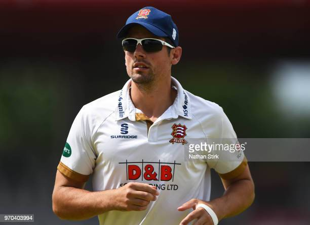 Alastair Cook of Essex looks on during the Specsavers Championship Division One match between Lancashire and Essex at Old Trafford on June 9 2018 in...
