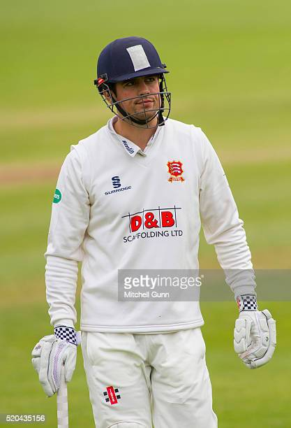 Alastair Cook of Essex walks off after being dismissed LBW during the Specsavers County Championship match between Essex and Gloucestershire at the...
