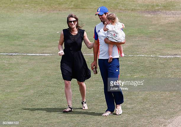 Alastair Cook with wife Alice Cook and daughter Elsie Cook on the pitch after day five of the 1st Test between South Africa and England at Sahara...