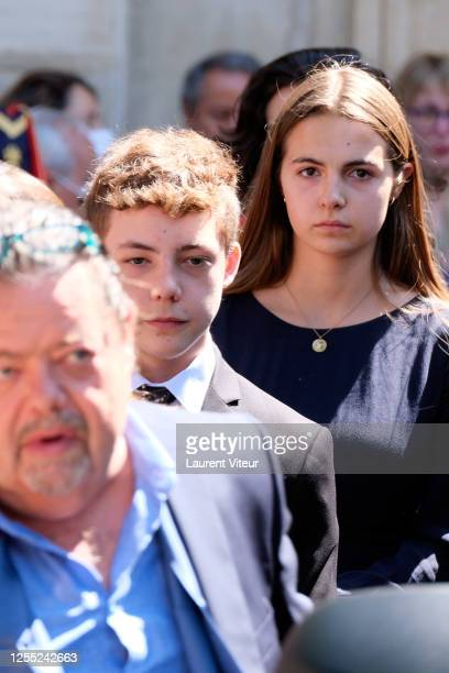 Alastair Cuddeford Allegra de Clermont Tonnerre and Calixte de Clermont Tonnerre attend Duchess Hermine de ClermontTonnerre Funeral at Eglise...