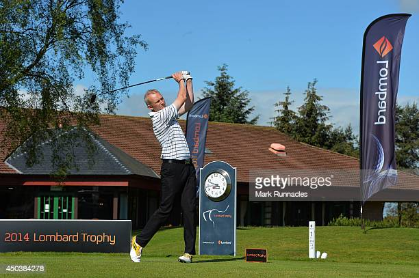 Alastair Forrow of Whitecraigs Golf Club on the 1st tee during the Lombard Trophy Scotland Regional Qualifier at Ladybank Golf Club on June 10 2014...