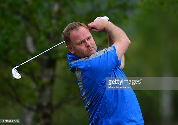 Alastair Forsyth of Scotland in action on the 12th tee during the second round of the 2015 SSE Scottish Hydro Challenge at the MacDonald Spey Valley...