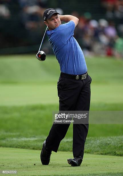 Alastair Forsyth of Scotland plays his tee shot on the sixth hole during the final round of the 90th PGA Championship at Oakland Hills Country Club...
