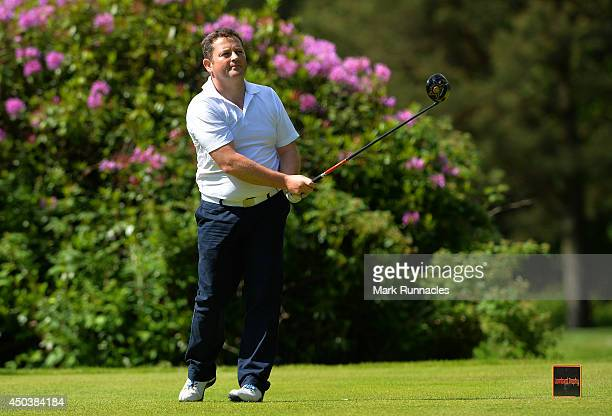 Alastair Frood of Ranfurly Castle Golf Club watches his drive on the 11th tee during the Lombard Trophy Scotland Regional Qualifier at Ladybank Golf...