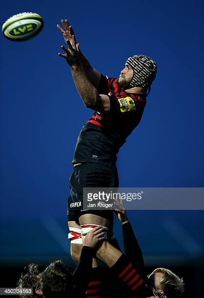 Alastair Hargreaves of Saracens takes a clean line-out ball during the LV= Cup match between Saracens and Scarlets at Allianz Park on November 17,...