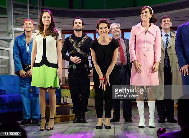 Alastair Natkiel, Anna Skellern, Nuno Queimado, Tamsin Greig, Michael Matus, Haydn Gwynne and Dale Rapley bow at the curtain call during the press...