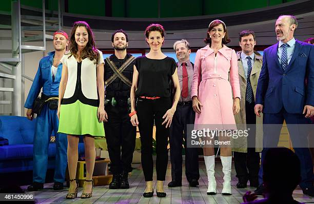 Alastair Natkiel, Anna Skellern, Nuno Queimado, Tamsin Greig, Michael Matus, Haydn Gwynne, Dale Rapley and Jerome Pradon bow at the curtain call...