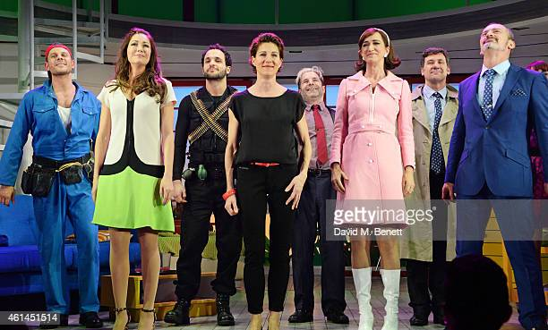 Alastair Natkiel Anna Skellern Nuno Queimado Tamsin Greig Michael Matus Haydn Gwynne Dale Rapley and Jerome Pradon bow at the curtain call during the...