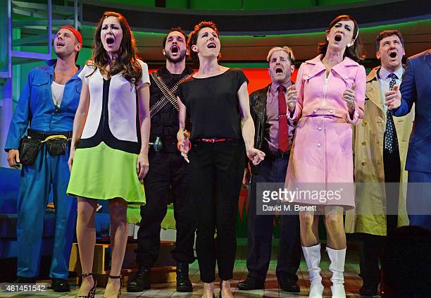 Alastair Natkiel Anna Skellern Nuno Queimado Tamsin Greig Michael Matus Haydn Gwynne and Dale Rapley bow at the curtain call during the press night...