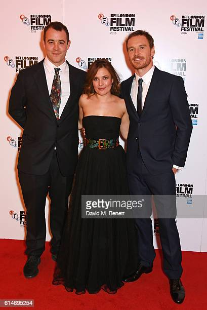Alastair Siddons, Lyndsey Marshal and Michael Fassbender attend the 'Trespass Against Us' screening during the 60th BFI London Film Festival at Vue...