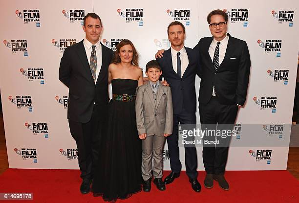 Alastair Siddons, Lyndsey Marshal, Georgie Smith, Michael Fassbender and Adam Smith attend the 'Trespass Against Us' screening during the 60th BFI...