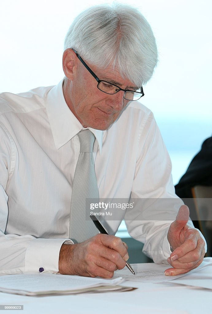 Alaster Hall, Deputy Managing Director of the Brisco Group makes notes during the Annual General Meeting on May 20, 2010 in Auckland, New Zealand. The Brisco Group includes Briscoes Homeware, Living & Giving, Urban Loft and Rebel Sport.